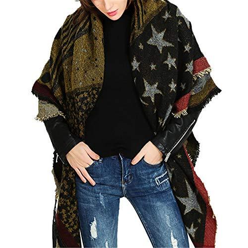 Chal Pashmina Marea femenina invierno estilo europeo y americano de doble cara espesa de cinco puntas de cinco puntas cálidas bufanda larga chal Suave cálido ( Color : Black green , Size : 140x140cm )