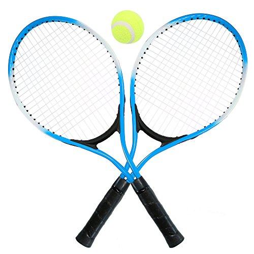 Lixada - Juego de Raquetas de Tenis para niños con 1 Pelota de Tenis y Funda Duradera, 2 Raquetas de Tenis para Principiantes, Turquesa