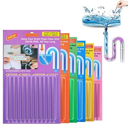 Drain Cleaner Sticks, 72 Stück Stoppe stinkende & verstopfte Abflüsse | Enzymreiniger für verstopfte Rohre in Bad, Dusche und Küche | Rohrreiniger/Abflussreiniger für Spülbecken