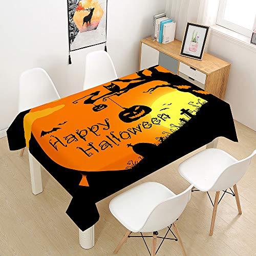 Chickwin Halloween Mantel para Mesa Rectangular - Impermeable Antimanchas - Tejido de poliéster - para Cocina Salón Comedor Jardín Decoración (Halloween-A,90 * 90cm)