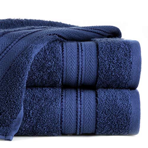 Eurofirany Daniel Toalla de Mano de algodón con Cenefa Suave patrón Grueso, Pack de 6 Unidades Oeko-Tex, Azul Marino, 50 x 90 cm