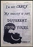 Parksmoonprints Cheshire Cat Crazy Quote Wandbild mit