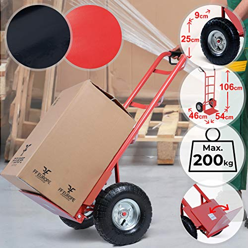 Carretilla de Mano | Capacidad de Carga 200kg, 2 Ruedas Neumaticas, con Pala Abatible, Acero | Carrito de Carga, Carretilla para Transporte (Rojo)