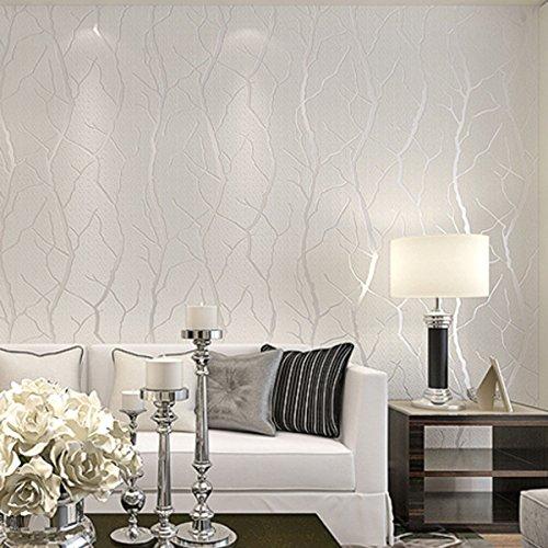Papel pintado no tejido moderno minimalista de ramas de viento de piel de venado engrosamiento 3D engrosamiento dormitorio sala de estar engrosamiento fondo de pantalla Blanco crema 53cm*10m
