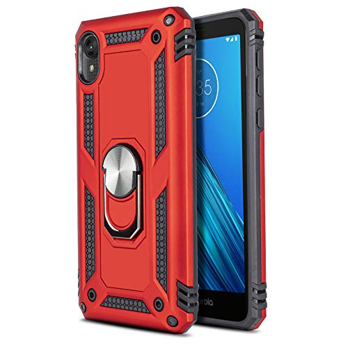 CasemartUSA Phone Case for [Motorola Moto E6], [Ring Series][Red] Full Rotating Metal Ring Shockproof Cover with Kickstand for Motorola Moto E6 (Verizon, Visible, Tracfone, T-Mobile, US Cellular)