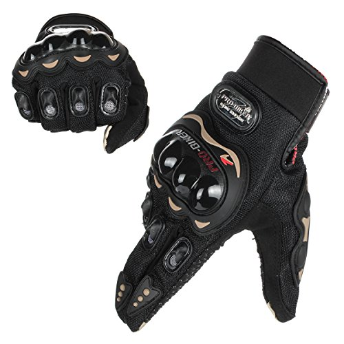 GES Men Outdoor Motorcycle Guanti impermeabili Moto Full Finger Touch Screen Racing Moto Cross Country Gloves (L, Nero)