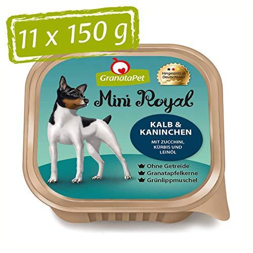 GranataPet Mini Royal Kalb & Kaninchen, Nassfutter für Hunde, Hundefutter ohne Getreide & ohne Zuckerzusatz, Alleinfuttermittel für ausgewachsene Hunde, 11 x 150 g