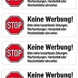 'Keine Werbung' Briefkasten-Aufkleber (weiß matt, 4 Stück)