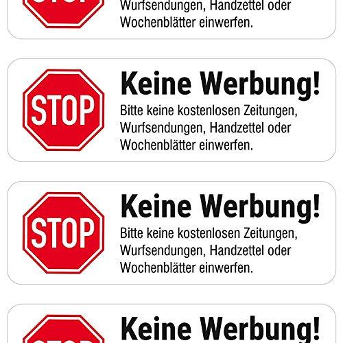 """""""Keine Werbung"""" Briefkasten-Aufkleber (weiß matt, 4 Stück)"""