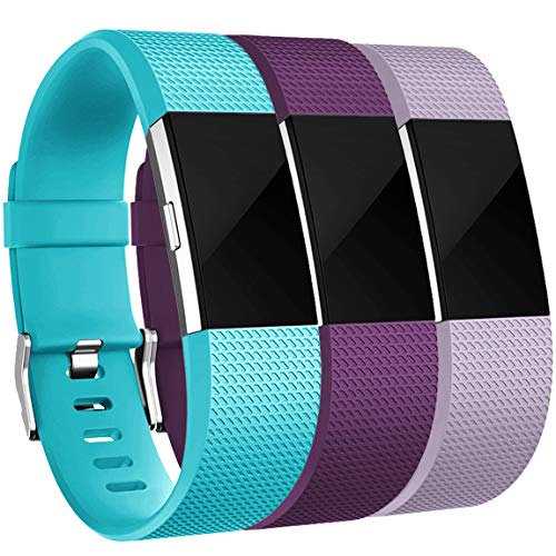 Maledan Bands Replacement Compatible with Fitbit Charge 2, 3-Pack, Small Lavender/Teal/Plum