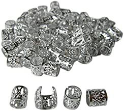 Dreadlock Beads for Hair, Braids, and Locs, 50 pieces, by Lock Love in SILVER Metal Filigree Cuff for Men or Women (Silver)