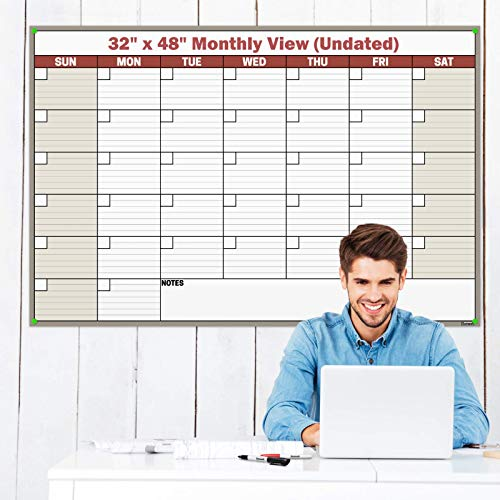 Dunwell Jumbo 32x48 Dry Erase Undated Monthly Weekly Planner (Brown), Laminated Erasable Calendars by Dunwell Reusable, Reversible, Includes Extra 2020 Calendar