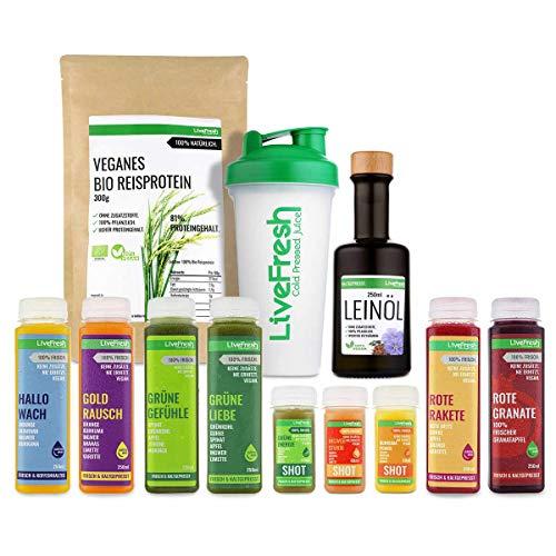 LiveFresh® Vollwertige Saftkur [6 Tage - 26 Säfte & Shots] - inklusive Zitronen, veganes Reisproteinpulver, Leinöl, Shaker und Dosierlöffel - Kaltgepresst - Ohne Zucker & Zusätze