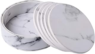 Coasters Mat Marble Coaster Cup Ceramics Heat-Resistant Reusable for Home Wine Plants Cups & Mugs 6 PCs