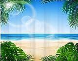 HASENCIV DIY 5D Diamant Malerei Kit Blue Ocean & Tropical Beach Duschvorhänge Monstera & Palmblätter unter der Sonne Malen nach zahlen Erwachsene 30x40cm Kristall Diamond Painting Kunst
