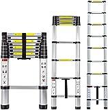OUNUO 2,6m Scala telescopica ,estensione telescopica in alluminio Scala mobile multiuso alta,150 kg Nero Capacità portante