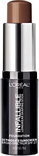 L'Oreal Paris Makeup Infallible Longwear Foundation Shaping Stick, Up to 24hr Wear, Medium to Full Coverage Cream Foundation Stick, 412 Espresso, 0.32 Ounce