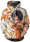 PANOZON Sudaderas One Piece Hombre Luffy 3D Camisetas de One Piece Unisex Hoodie con Capucha (2XL, Blanco Amarillo 03-1)