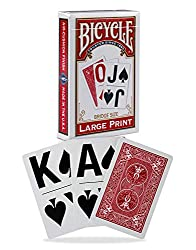 Large print playing cards for low vision card players