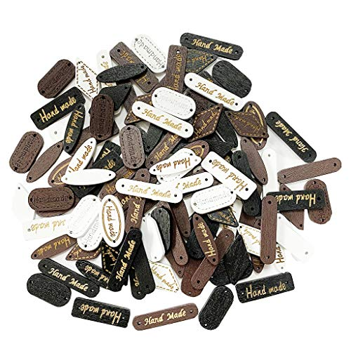 Juland 100 botones de madera hechos a mano con etiqueta de madera para scrapbooking, manualidades, 2 agujeros, etiquetas de ropa para manualidades, joyas, artesanía, color negro, marrón, beige