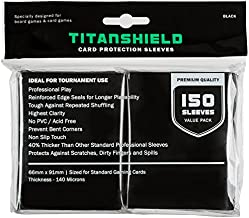 TitanShield (150 Sleeves/Black Standard Size Board Game Trading Card Sleeves Deck Protector for Magic The Gathering MTG, Pokemon, Baseball, Dropmix