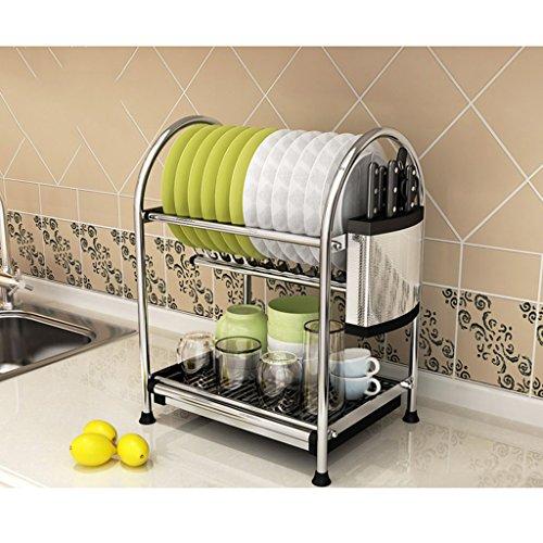 Plate-forme en acier inoxydable étagère de cuisine Rack de stockage Racks à vaisselle Drain Accueil Fournitures Mettre Bowl Tray Leakage Rack 2Tire ( edition : C , taille : 45.5*28*45.2CM )