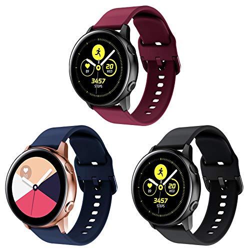 Onedream Armband Kompatibel für Samsung Galaxy Watch Active/Active 2 40mm 44mm Damen Herren, Silikon Ersatzarmband Kompatibel für Samsung Galaxy Watch 42mm/ Galaxy Watch 3 41mm 3 Pack
