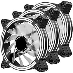 EZDIY-FAB Ventole LED da 120 mm,Ventole Case a Doppio Telaio per Custodie per PC,Flusso d'Aria Elevato,Dissipatori CPU e Radiatori,Bianco 3-Pin-3 Pack