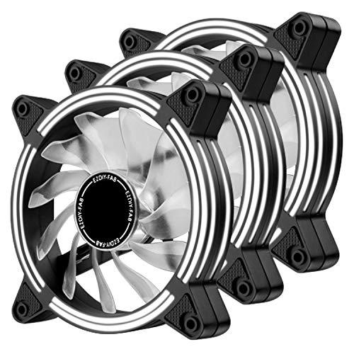 EZDIY-FAB Ventilador LED de 120 mm,Ventilador de Caja de Doble Marco LED para Cajas de PC,silencioso de Alto Flujo de Aire,enfriadores de CPU y radiadores,Blanco 3-Pin-3-Pack