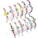 vamei 12 Piezas Pulseras de la Amistad para Niña Pulseras Trenzadas Ajustable Linda Arcoíris Corona Panda Unicornio Pulsera Tejida Regalos Cumpleaños para Niños