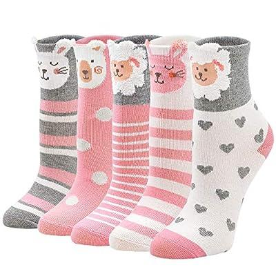 ZFSOCK Calcetines Niña Calcetines de Algodón para Niños con Divertidos Estampados de Unicornio Animales, 8-11 años, 31-34, Pack de 5 Pares