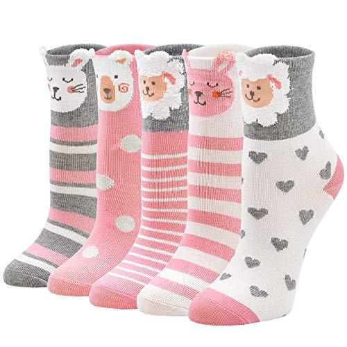 ZFSOCK Kindersocken Mädchen Sneaker Socken aus Baumwolle Bunte Lustige Tiermuster Niedliches Knöchelsocken 5 Paare, für Größe 24-29, 5-7 Jahre alt