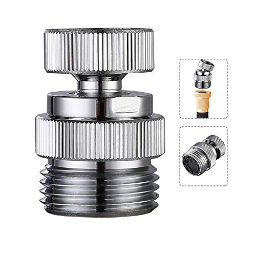 Swivel Faucet Adapter Kit, Brass 3/4-Inch Garden Hose Adapter with Aerator, Kitchen Sink Faucet Adapter for Female & Male to Male, Chrome Finish