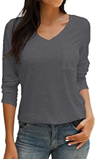 Tobrief Women's Long Sleeve V-Neck Shirts Loose Casual Tee T-Shirt with Pocket