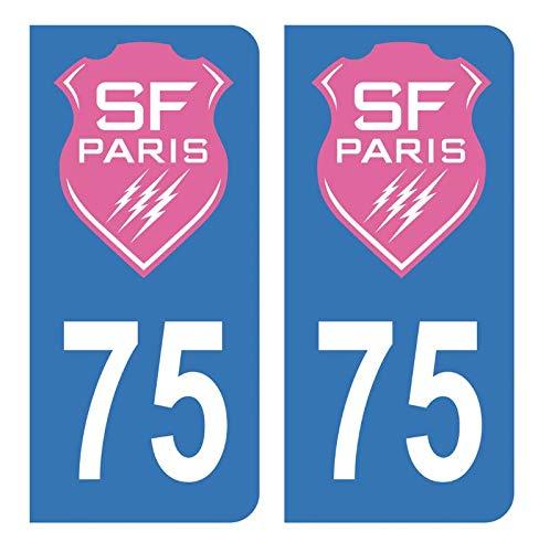 Hadexia Aufkleber für Nummernschild, Auto, 75 SF Stade Français Paris Rugby, Blau
