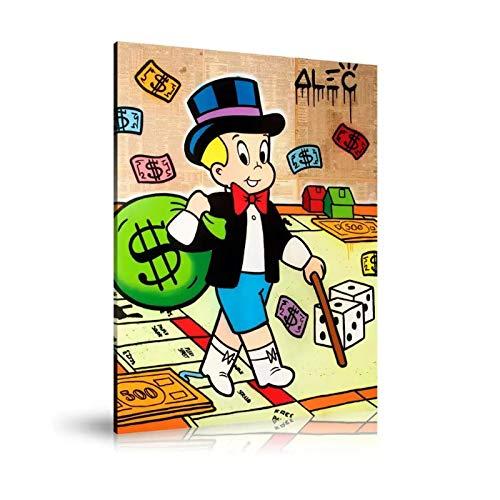NFGGRF Alec Monopoly Richie Juega Monopoly Póster de Pintura al óleo e Imprime Arte de Pared en Lienzo Impresiones de Lienzo Decoración de habitación-50x70cm Sin Marco