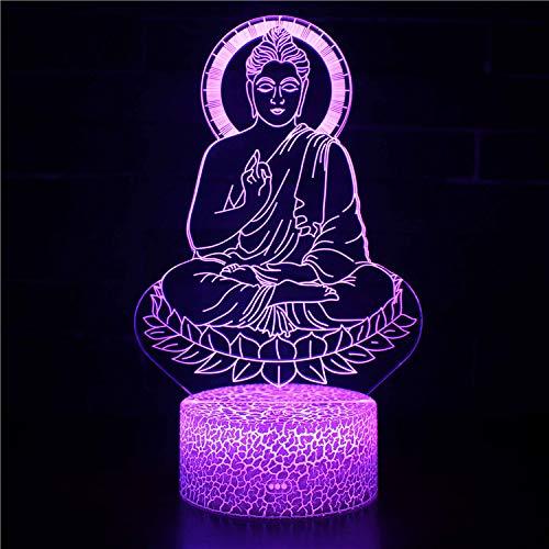 Fantasy Buda 3D Luz de Noche 16 Cambio de Color Lámpara Acrílico Plano ABS Base USB Cargador Decoración del Hogar Juguete Brithday Navidad Niño Niños Regalo