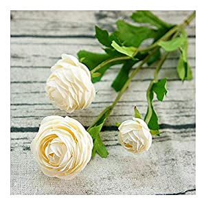 AFANGMQ 3Heads Artificial Ranunculus Asiaticus Rose Fake Flowers Silk Flores Artificiales for Wedding Room Home Hotel Party Event Christmas Decor Very Realistic (Color : F, Size : 1 Pack)