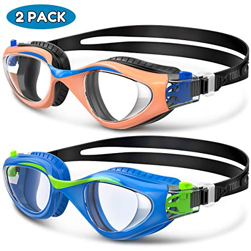 Swim Goggles, 2 Pack Kids Goggles for Children and Teens Toddler, Anti-Fog Anti-UV Youth Swimming Goggles, Leak Proof, Soft Silicone Frame Swim Glasses with Portable Case, for 3-16 Y/O - Combo A