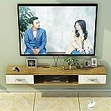 Mueble de TV Flotante, Unidad Entretenimiento Montada en la Pared con 2 Cajones,Estante Almacenamiento Multimedia Utilizado para el Dormitorio la Sala Estar/B / 120cm