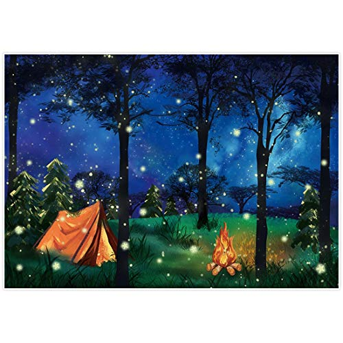 Allenjoy 7x5ft Forest Camping Photography Backdrop Night Star Scenery Tent Campfire Background for Boys Girls Happy Birthday Camping Theme Party Decor Banner Baby Shower Photoshoot Booth Props
