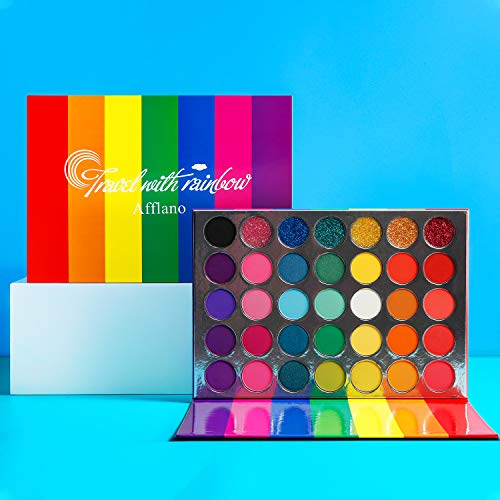 Eyeshadow Palette Colorful Rainbow Matte And Shimmer Pressed Glitter,Afflano Pigmented Eye Shadow Pallets Pink Red Orange Yellow Green Blue Purple 35 Color,Blendable Bright Makeup Palette For Women
