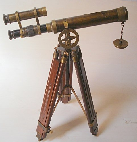 PIRU Nautical Antique Telescope Wooden Tripod Vintage Binocular Pirates Spyglass