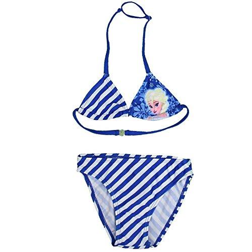 Disney Frozen Eiskönigin Mädchen Girls 2tlg. Bikini blau/weiß gestreift (122/128)