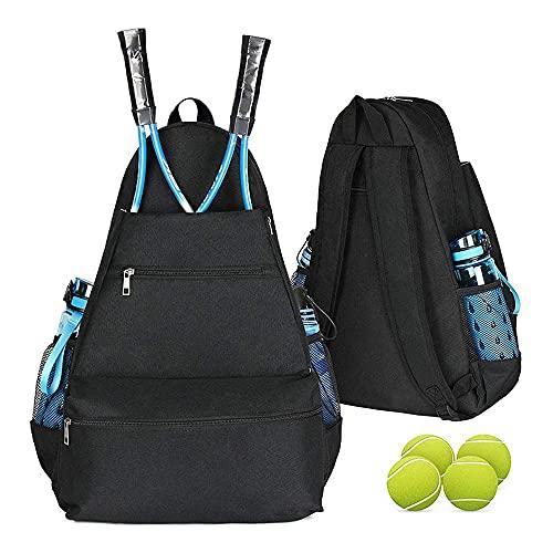 bolsa de tenis, bolsa de lona de tenis para hombre Puede contener 3 raquetas, acolchada para proteger raquetas ligeras para jugadores profesionales y principiantes diseño unisex Black-20.8in