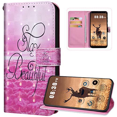 Funda con tapa para Huawei P30 Lite, piel sintética, cierre magnético, funda protectora de cuerpo completo, diseño de patrón lindo con tarjeteros, funda de silicona suave, color rosa