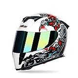 Casco Integrale modellabile da Moto Flip up Dual Visor Sun Shield, Casco da Motociclista da Motociclista Sportivo Dirt Bike Quattro Stagioni,WhiteClown,L