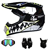 Motocross Helme Downhill Helme Motorrad Crosshelme & Endurohelme Jugend Kinder Offroad Helm Motocross Gear Combo 4-teiliges Se (M)