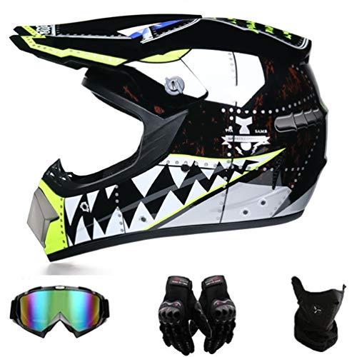 Motocross Helme Downhill Helme Motorrad Crosshelme & Endurohelme Jugend Kinder Offroad Helm Motocross Gear Combo 4-teiliges Se (L)