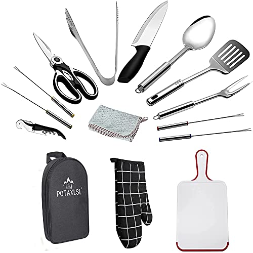 Camping Cookware, 15-piece Camp Kitchen Equipment Portable Camping Utensils Set Stainless Steel Camping Accessories Compact Gear for Backpacking BBQ Camping Hiking Travel Water Resistant Organizer Bag